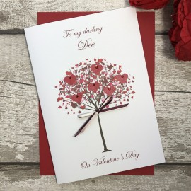 "Handmade Valentines Card ""Heart Filled Tree"""