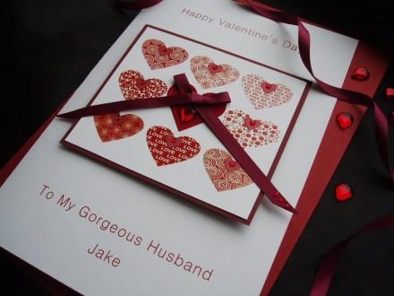 "Handmade Valentines Card ""Stylish Nine Hearts"""