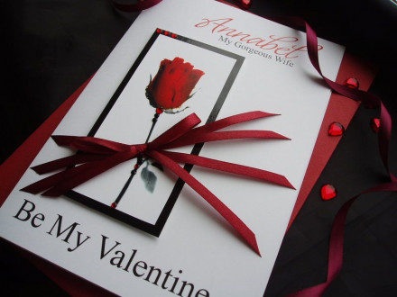 "Handmade Valentines Card ""Romantic Red Rose"""