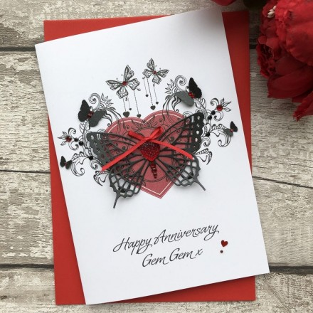 Luxury Wedding Anniversary Card ' Butterfly'
