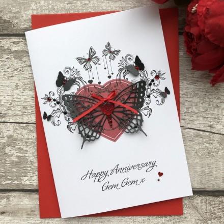 Luxury Wedding Anniversary Card ' Butterfly'