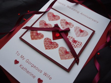 Luxury Hearts Wedding Anniversary Card