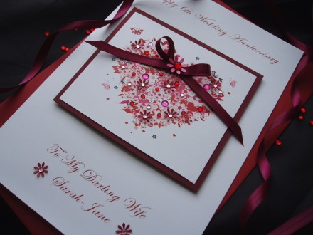 "Handmade Wedding Anniversary Card ""Floral Heart"""