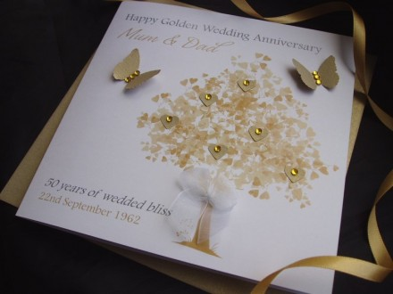 "Handmade Wedding Anniversary Cards ""Golden Heart Tree"""