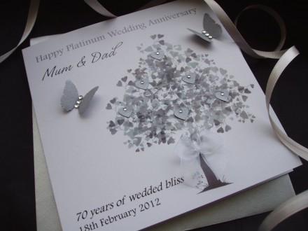 Platinum Heart Tree Wedding Anniversary Card