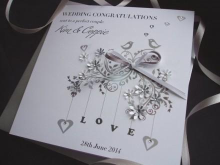 Handmade Wedding Card Love Birds
