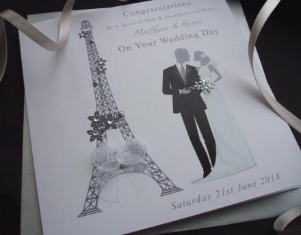Handmade Wedding Card Eiffel Tower