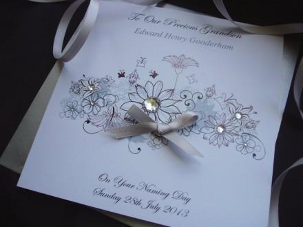 Floral Christening Card
