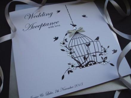 "Handmade Wedding Acceptance Card ""Bird Cage"""