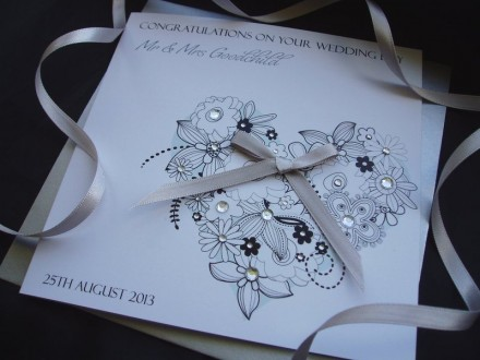 "Handmade Wedding Card ""Floral Heart"""