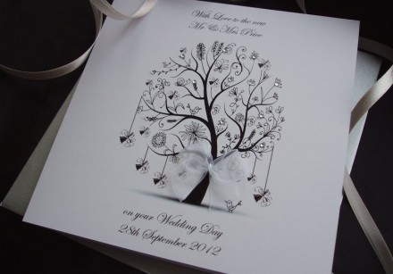 Handmade Wedding Card Bell Tree