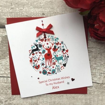Handmade Christmas Card Bauble Handmade Cards Pink Posh