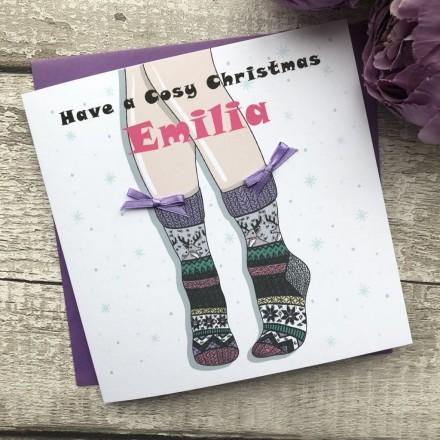 Handmade Christmas Card 'Socks'
