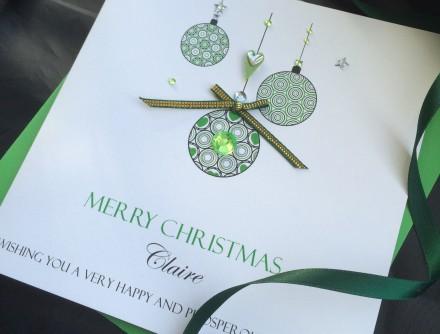 Handmade Christmas Card Green Baubles
