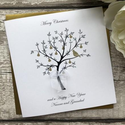Handmade Christmas Card Pear Tree