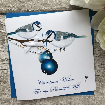 Handmade Christmas Card 'Blue Tits'