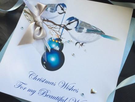 Handmade Christmas Card Blue Tits