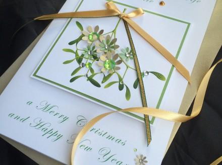 Handmade Christmas Card Mistletoe