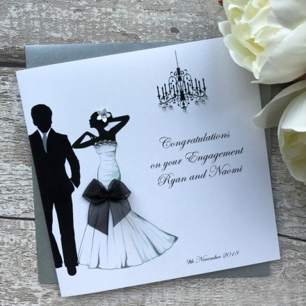 Handmade Engagement Card 'Glamour Couple'