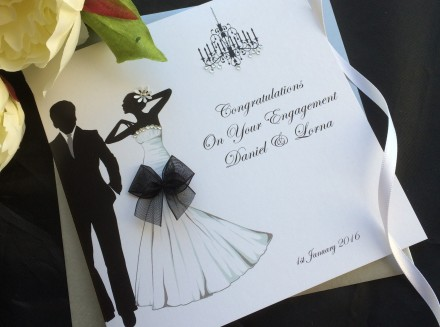 Handmade Engagement Card Glamour Couple