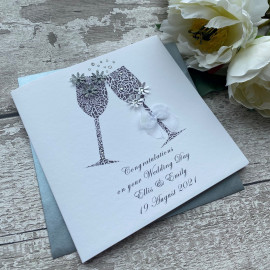 "Personalised Handmade Wedding Card ""Champagne Toast"""