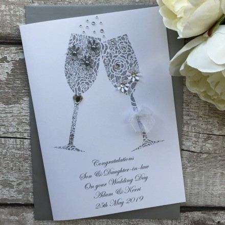 "Personalised Handmade Wedding Card ""Champagne Toast"""