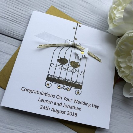 Handmade Wedding Card Lace Bird Cage