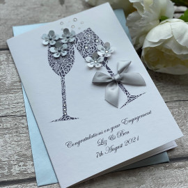 Handmade Personalised Engagement Card 'Champagne'