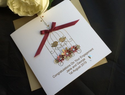 Handmade Engagement Card Bird Cage