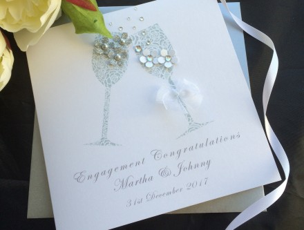 Handmade Engagement Card Champagne
