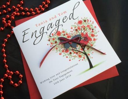 Handmade Engagement Card Heart Tree