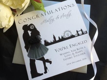 Handmade Engagement Card Skyline