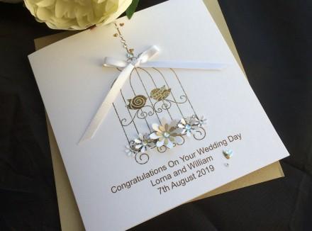 Handmade Wedding Card Lace Bird Cage