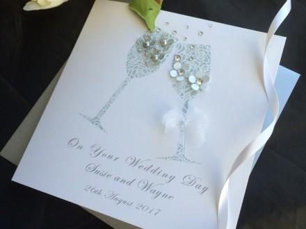 "Handmade Wedding Card ""Champagne Toast"""
