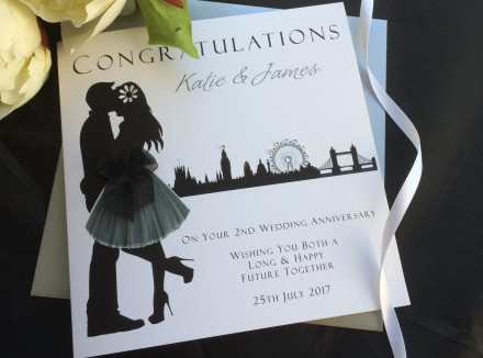 "Handmade Wedding Anniversary Card ""Skyline"""