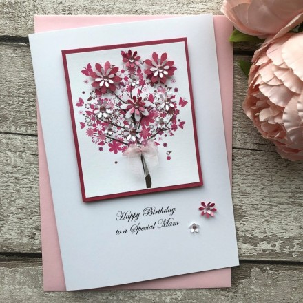 Peachy Luxury Handmade Birthday Card Floral Tree Handmade Cardspink Posh Funny Birthday Cards Online Fluifree Goldxyz