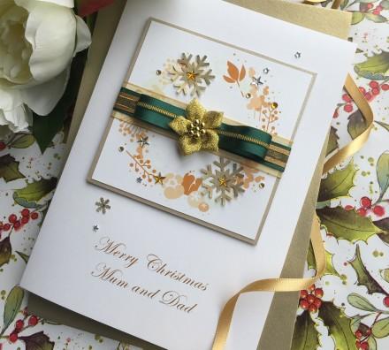 """Handmade Christmas Card """"Poinsettia"""""""