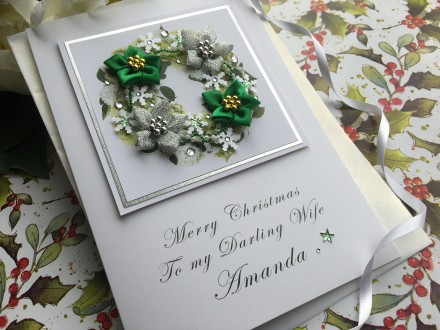 "Handmade Christmas Card ""Seasonal Wreath"""