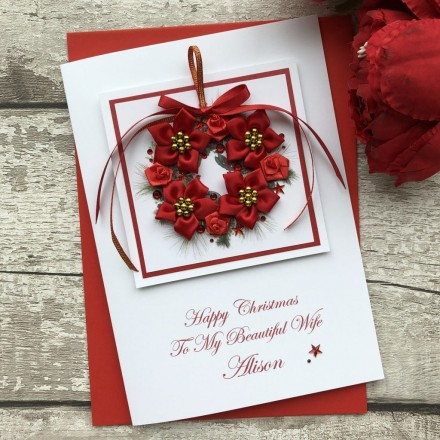 Handmade Christmas Card 'Romantic Wreath'