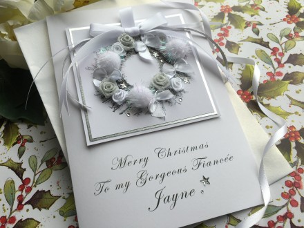 "Handmade Christmas Card ""Pom Pom Wreath"""