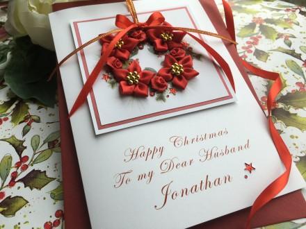 """Handmade Christmas Card """"Romantic Wreath"""""""