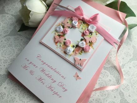 "Luxury Handmade Wedding Card ""Rose Floral Wreath"""
