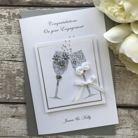 """Luxury Handmade Engagement Card """"Toast"""""""