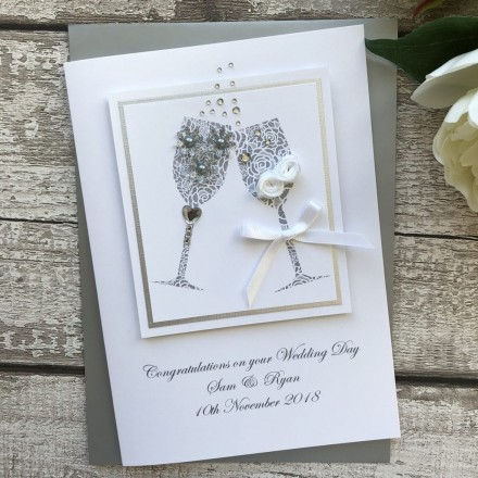 Luxury Handmade Wedding Card 'Champagne'