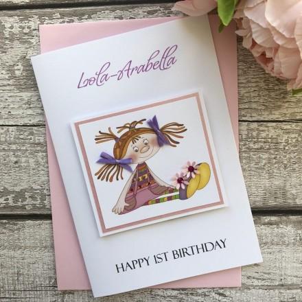 Handmade Birthday Card 'Rag Doll'