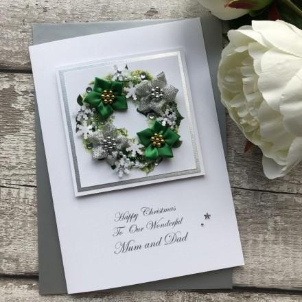 Luxury Handmade Christmas Card 'Seasonal Wreath'
