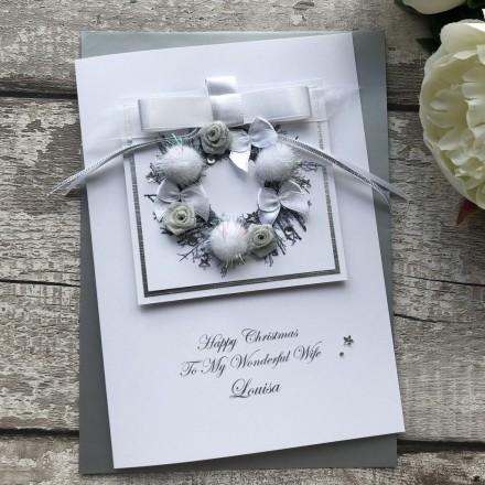 Luxury Handmade Christmas Card 'Pom Pom Wreath'