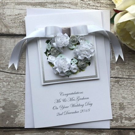 "Handmade Wedding Card ""Floral Wreath"""