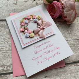"Luxury Handmade Wedding Card ""Rose Wreath"""