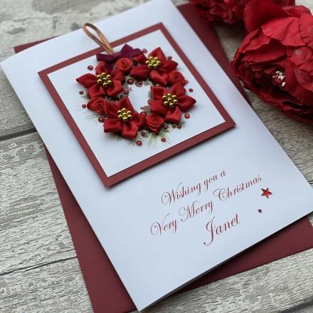 Handmade Christmas Card 'Romantic Wreath'